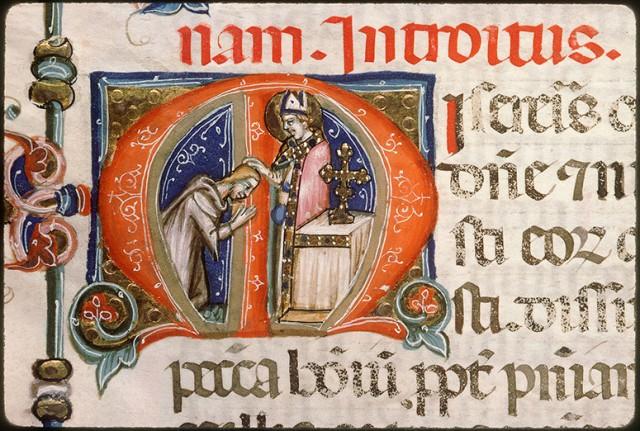 Imposition des Cendres - Missel romain - manuscrit napolitain vers 1370.