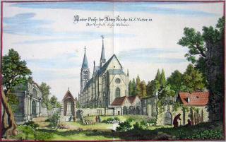 L'Abbaye de Saint-Victor en 1655 - gravure de Mérian.