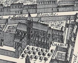 La collégiale Saint-Marcel sur le plan de Turgot de 1739.
