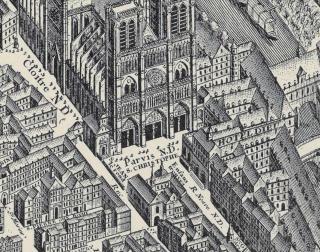 Saint-Christophe sur le parvis de Notre-Dame - plan de Turgot de 1739.