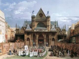 Turpin de Crissé, la procession de la Fête-Dieu sortant de Saint-Germain-L'Auxerrois.