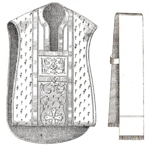 Chasuble pliée & stolon de la basilique Sainte-Marie-des-Anges à Rome.