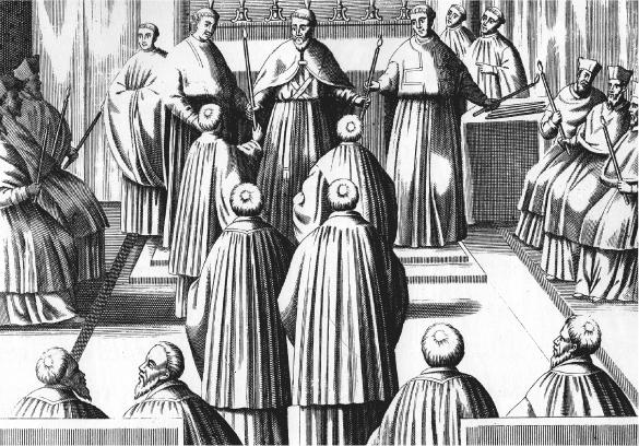 Distribution des cierges à la fête de la Purification.