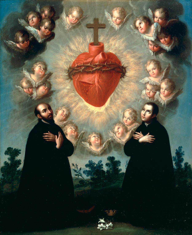 Le Sacré Cœur adoré par saint Ignace et par saint Louis de Gonzague - peinture de José de Páez