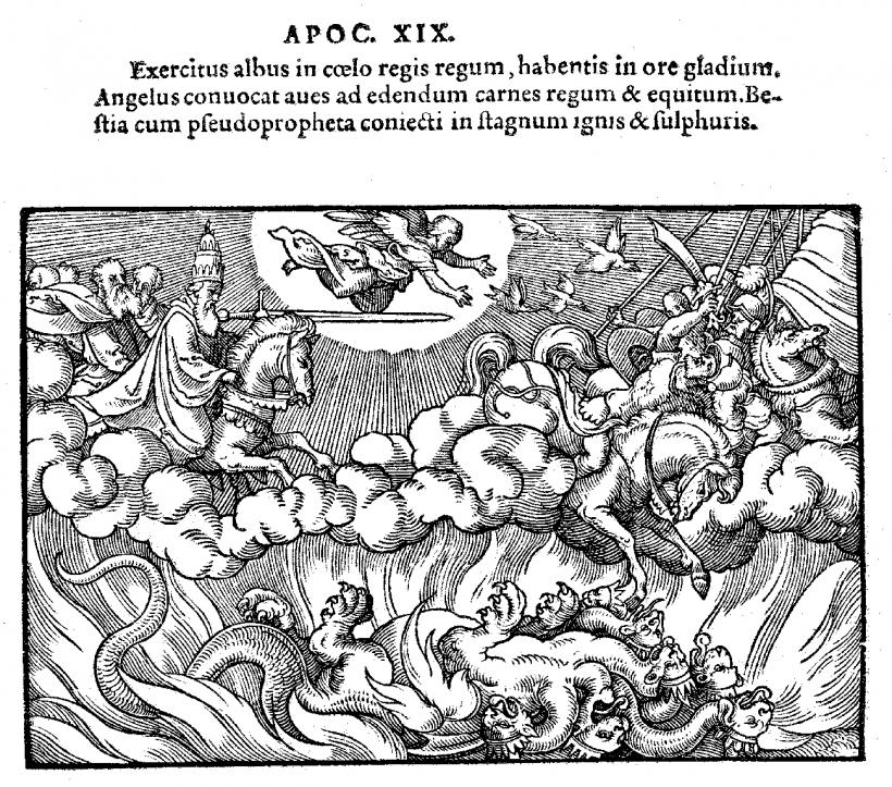 Le chevalier de l'Apocalypse sur son cheval blanc précipite la Bête et le Faux Prophete dans l abîme