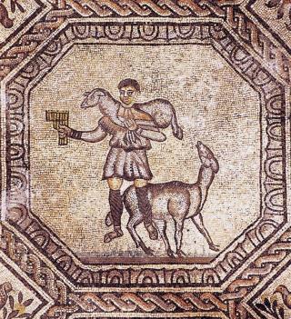 Mosaïque du IVème siècle de la basilique d Aquilée (détail : le Bon Pasteur).
