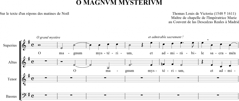 O magnum mysterium - motet de Thomas Louis de Victoria