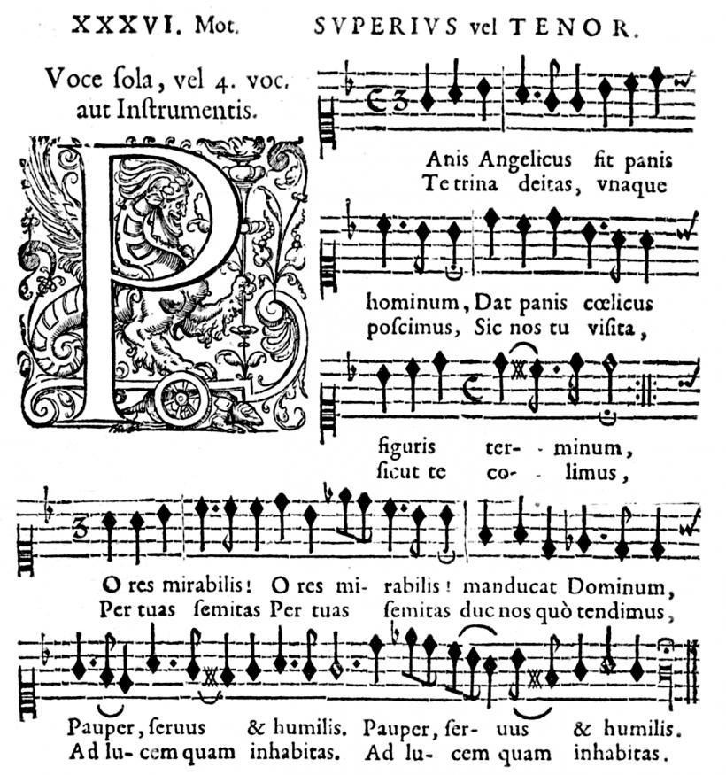 Henry du Mont - Panis angelicus - partie du Superius - Cantica Sacra - Edition de 1652.