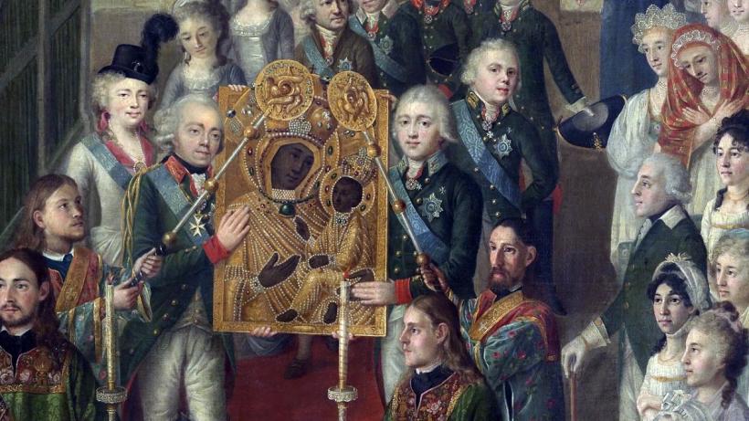 Procession avec l'icône de Tikhvine en 1812.