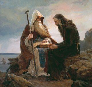 Saint Antoine et son disciple saint Théodose , fondateurs de la Laure des Grottes de Kiev
