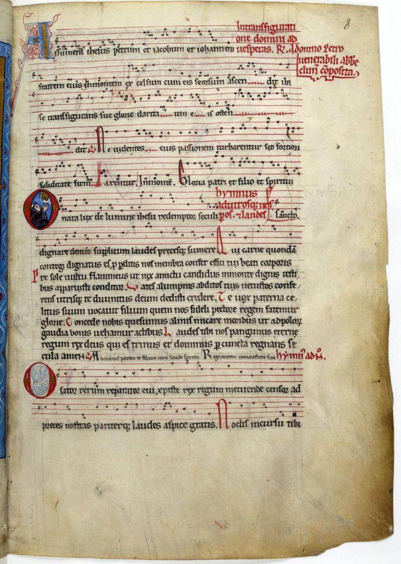 Miscellanea secundum usum ordinis Cluniacensis - folio 8 r° : début de l'office de la Transfiguration composé par Pierre le Vénérable.