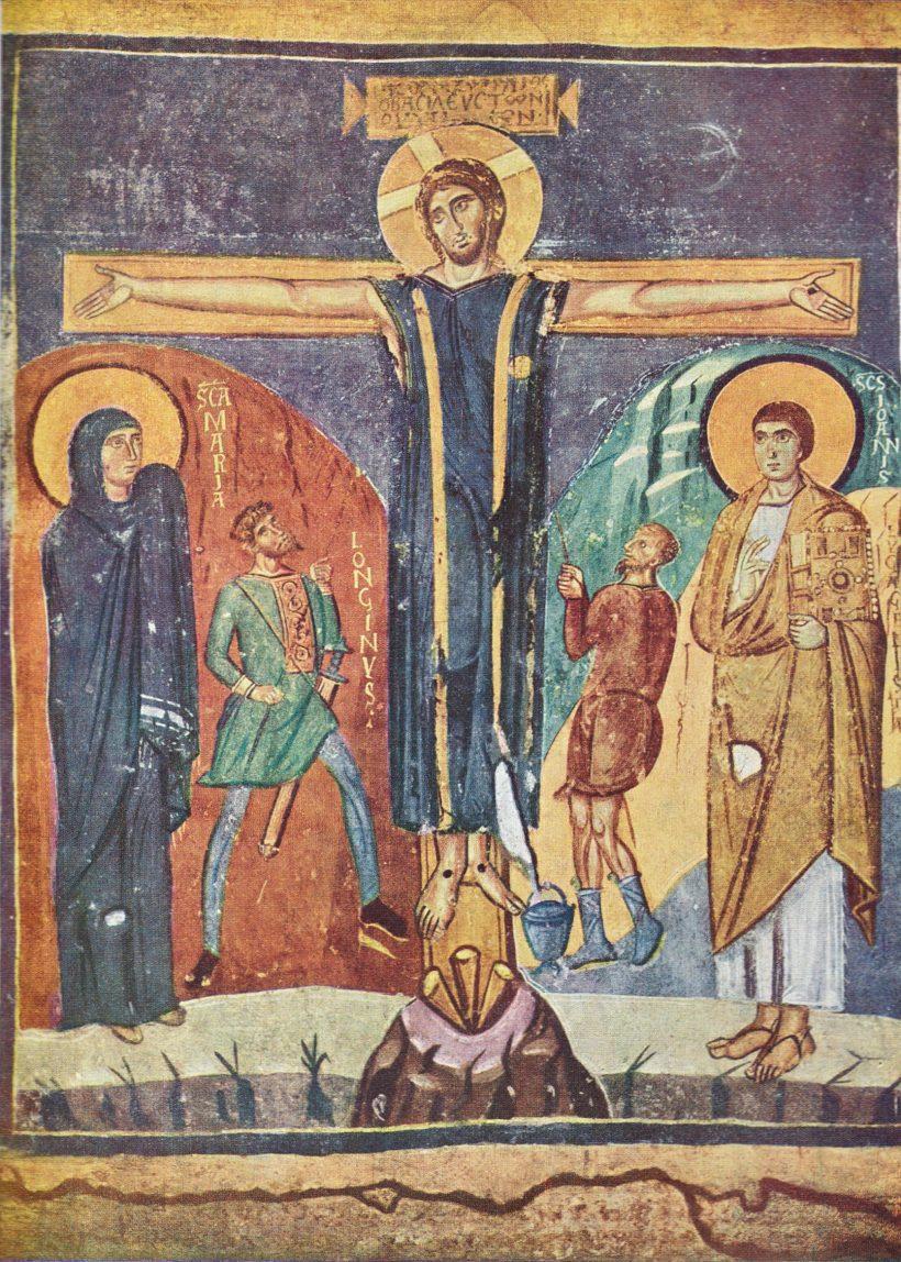 Crucifixion de Santa-Maria-Antiqua à Rome - fresque fresque que le pape Zacharie (741-752) fit exécuter, l'une des plus ancienne crucifixion, avec le nom de Longin