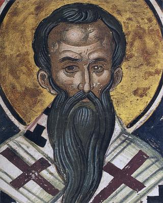 Saint Paul le Confesseur, patriarche de Constantinople - fresque du monastère de Dyonisiou au Mont-Athos - XVIème siècle