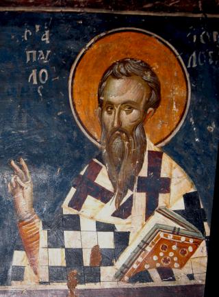Saint Paul le Confesseur patriarche de Constantinople - Fresque de l'église Saint-Nicolas de Thessalonique - XIVème siècle