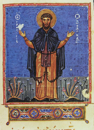 Saint Grégoire le Décapolite - miniature du XI-XIIe siècle - Mont-Athos