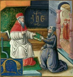 Saint Jérôme offre la Vulgate à saint Damase.