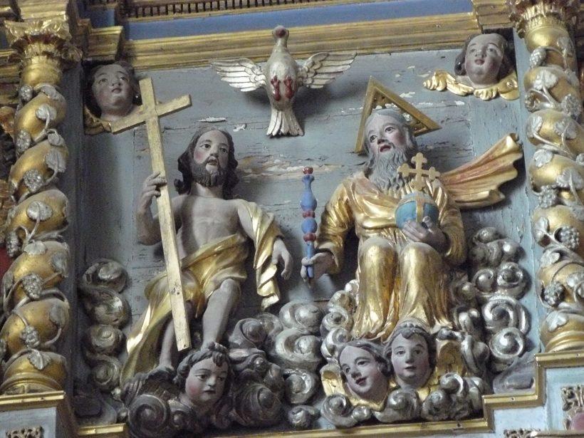 La Côte-d'Aime, église Saint Laurent : retable de saint Roch et saint Antoine : la Trinité.
