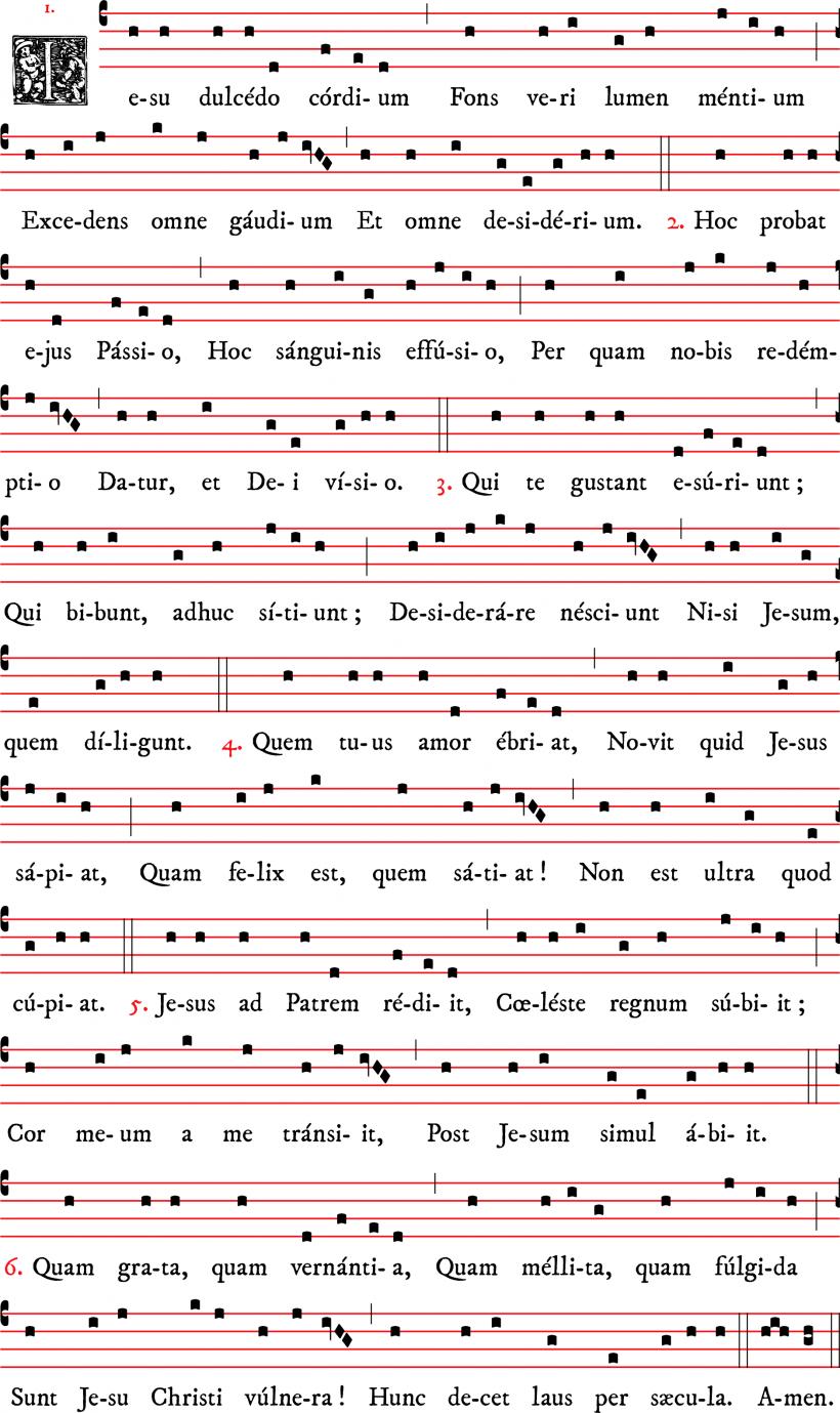 Iesu dulcedo cordium - hymne pour le Précieux Sang