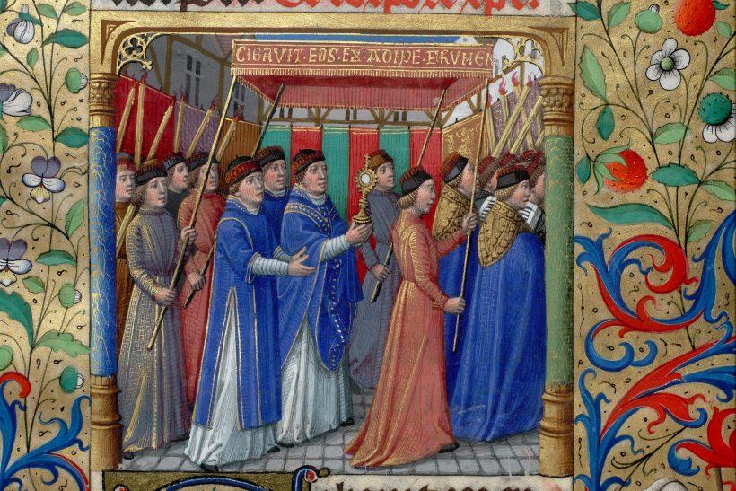 Procession de la Fête-Dieu à Saint-Germain-L'Auxerrois - miniature du XVème siècle.