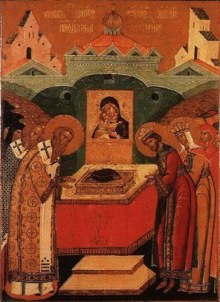 Déposition aux Blachernes du vêtement de la Mère de Dieu.