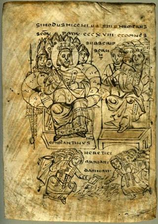 Constantin brûle les livres ariens après le Concile de Nicée. Verceil, Bibliothèque capitulaire, MS CLXV (c. 825).