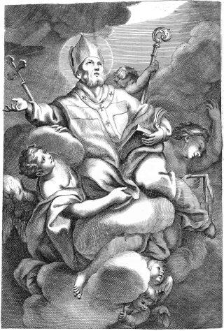 Saint Ambroise de Milan - gravure d'un missel du XVIIIème siècle