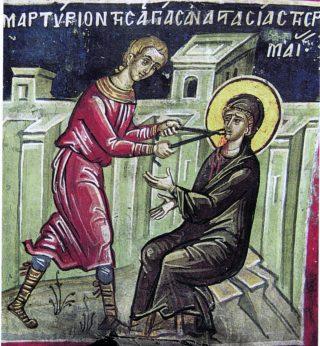 Martyre de sainte Anastasie la Romaine, Vierge.