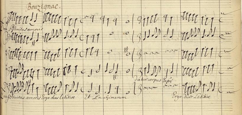 Ecce festivitas amoris - Guillaume Bouzignac - motet pour le Jeudi saint - manuscrit Deslauriers