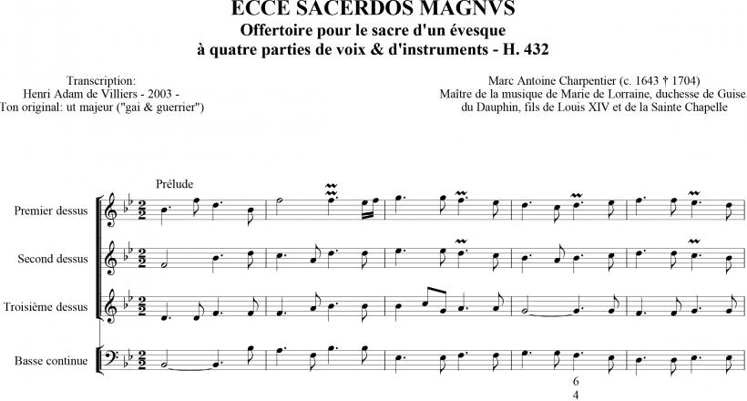 Ecce Sacerdos Magnus - Marc-Antoine Charpentier - ouverture instrumentale (H. 432)