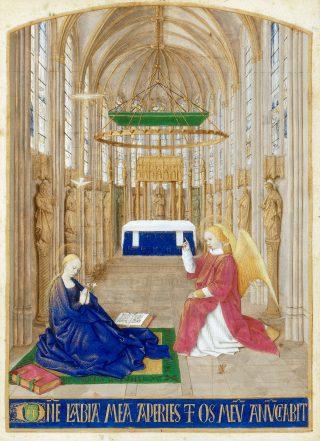La Messe d'Or - Jean Fouquet, Annonciation, Heures d'Etienne Chevalier