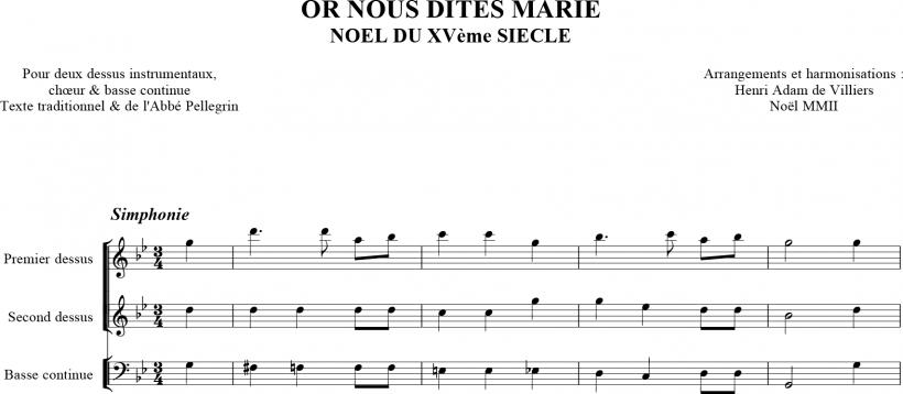 Or nous dites Marie - début avec la simphonie instrumentale