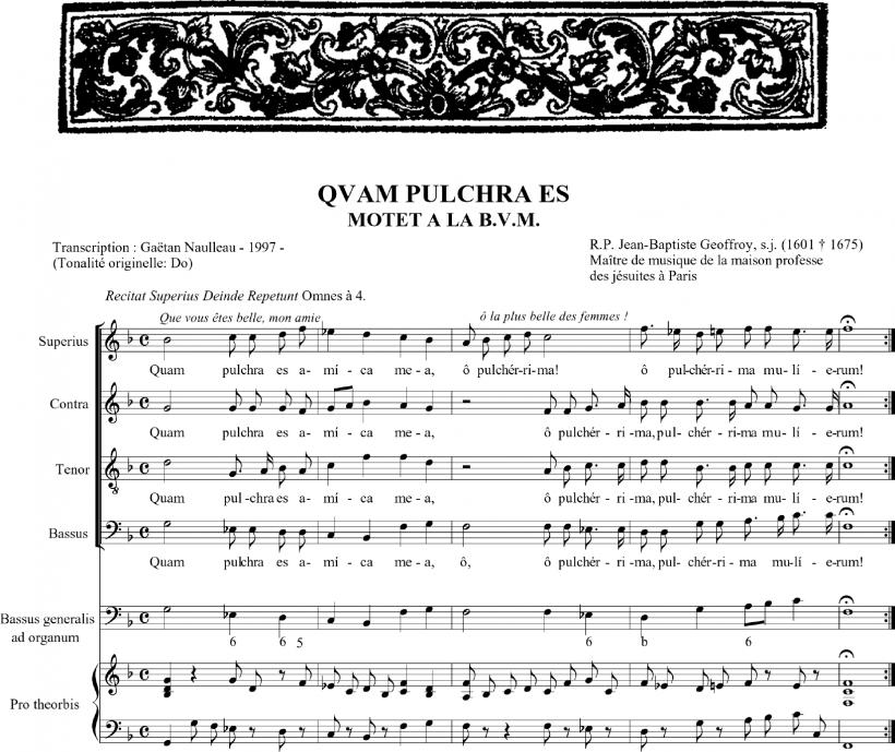 Quam pulchra est - motet en l'honneur de la Sainte Vierge - Jean-Baptiste Geoffroy