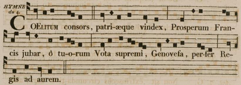 Cælitum consors - Hymne de sainte Geneviève - Antiphonaire & graduel  à l'usage des diocèses qui suivent le rit parisien, Dijon 1827)