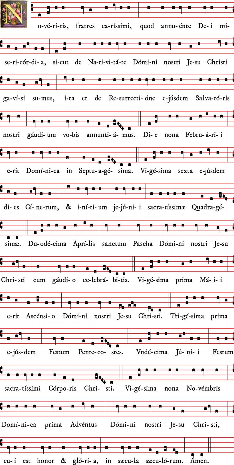 Noveritis Romanum 2020 : proclamation de la date de Pâques et des fêtes mobiles