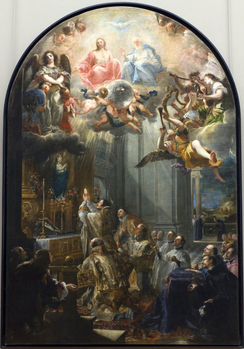 Juan Carreño de Miranda (Avila, 1614 † Madrid, 1685) La première messe de saint Jean de Matha et la vision fondatrice de l'Ordre des Trinitaires. Tableau peint en 1666 pour les Trinitaires de Pampelune.