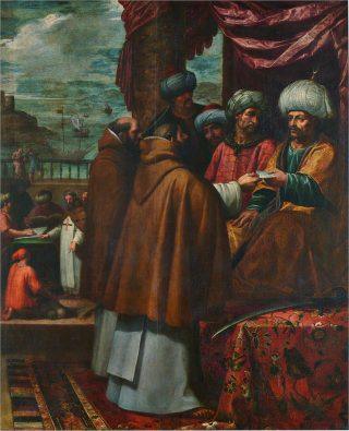 Saint Jean de Matha rachète les esclaves chrétiens à l'Emir du Maroc.
