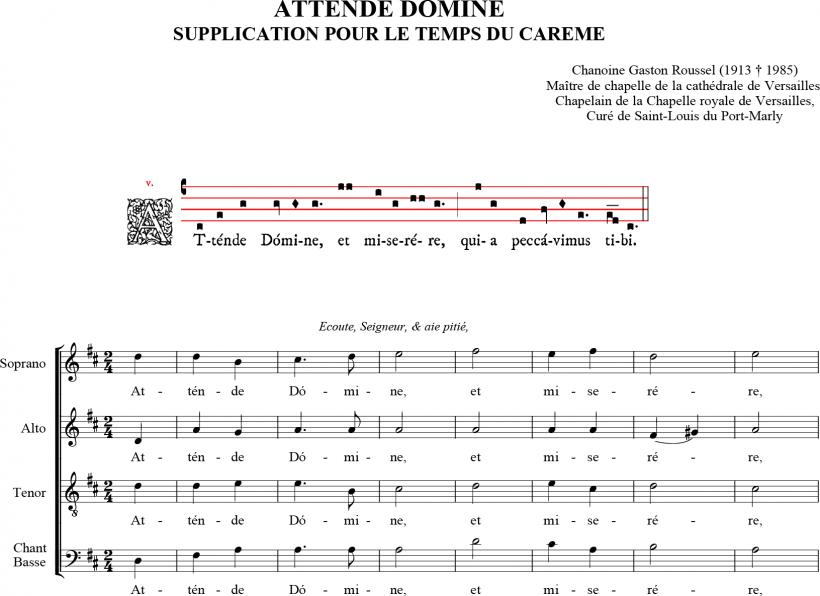 Attende Domine - harmonisation du chanoine Gaston Roussel