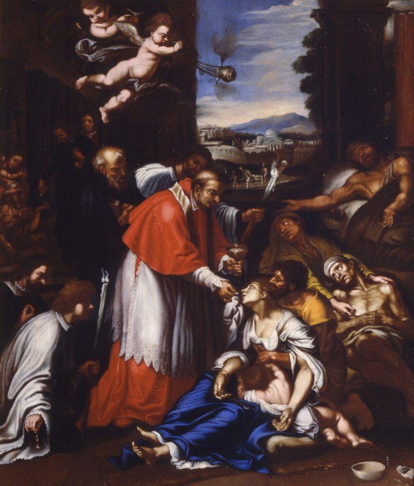 Prières en temps d'épidémie : Pierre Mignard, Saint Charles Borromée lors de la peste à Milan, c. 1647 - Musée des Beaux-Arts de Caen