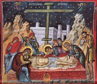 Grand Vendredi : Christ descendu de la Croix et mis dans le Suaire (Epitaphios / Плащаница)