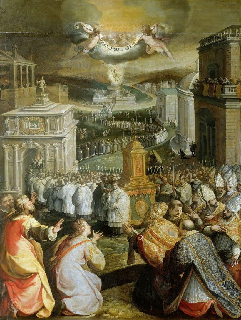 Procession de saint Gregoire aux Litanies Majeures par Jacopo Zucchi