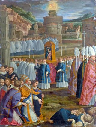 Procession des Litanies majeures : le Pape saint Grégoire le Grand a la vision de saint Michel Archange sur le Château Saint-Ange remettant son glaive au fourreau, marquant la fin de l'épidémie de peste à Rome.