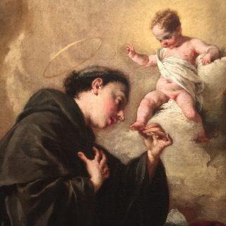 13 juin - saint Antoine de Padoue. Ici avec l'Enfant Jésus. Peinture de Giambattista Pittoni (1687+1767). Ca' Rezzonico. Venise