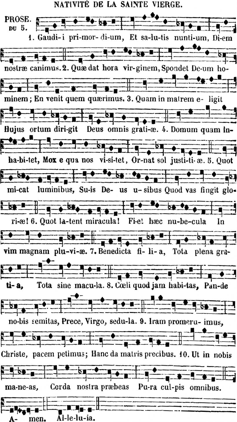 Gaudii primordium - prose parisienne de la fête de la Nativité de la Sainte Vierge