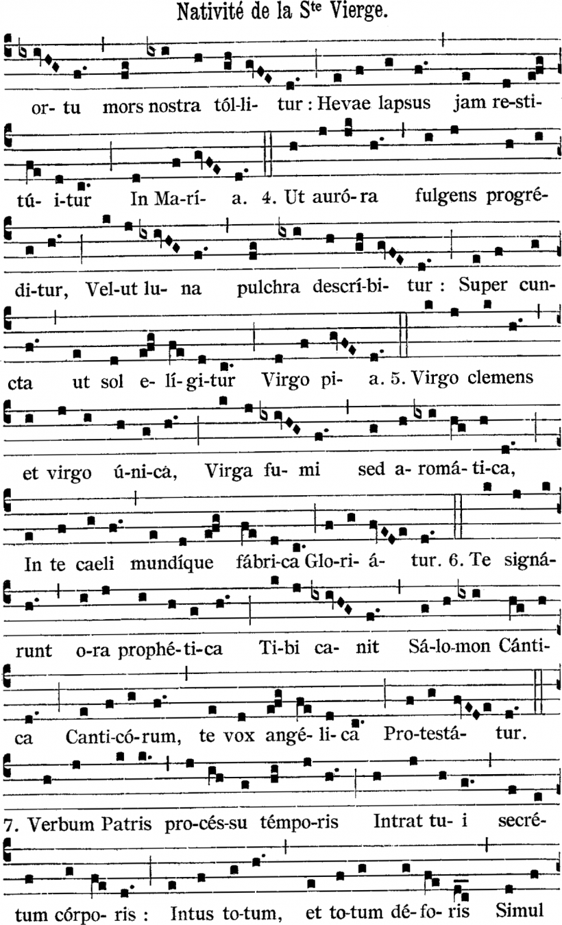 Nativitas Mariæ Virginis - une prose du XIIIème siècle pour la fête de la Nativité de la Sainte Vierge