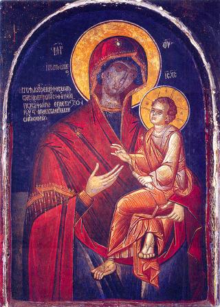 Icône de Notre-Dame Prompte à écouter - fresque du Xème siècle du monastère de Dochiariou au Mont-Athos