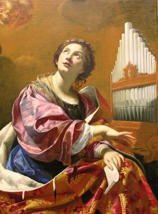 """Sainte Cécile par Simon Vouet ca. 1626, Wadsworth Atheneum, Hartford (Connecticut)"