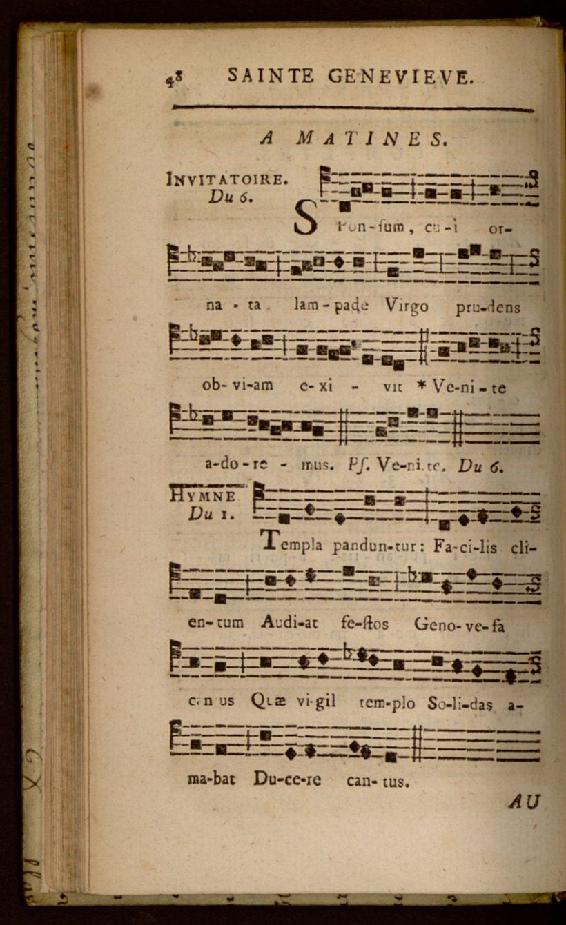 Templa panduntur - hymne de l'office nocturne de sainte Geneviève propre à Saint-Etienne-du-Mont