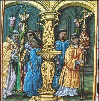 Procession du clergé avec le trident à la Vigile pascale - Manuscrit espagnol du XVI<sup>ème</sup> siècle.