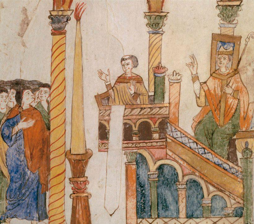Vigile pascale - consécration du cierge pascal par le diacre au pupitre de l'évangile
