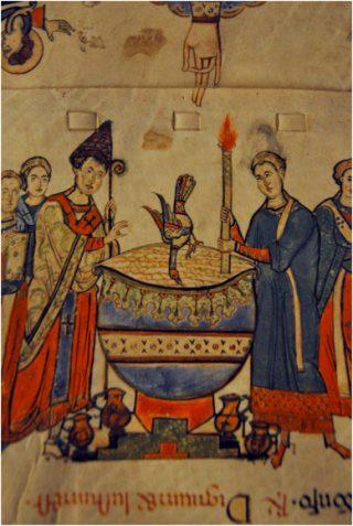 Vigile pascale - la descente du Saint-Esprit sur les fonts baptismaux pendant la bénédiction de l'eau baptismale - Manuscrit de la Benedictio ignis et fontis du Musée diocésain de Bari, XIème siècle